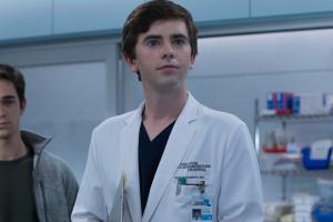 Freddie Highmore as Dr. Shaun Murphy in a labcoat