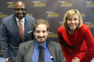 JP Morgan Chase's Rodney Hood with RespectAbility's Jennifer Laszlo Mizrahi and Ben Spangenberg