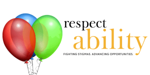 RespectAbility logo with a picture of three balloons