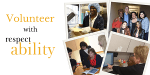 Four separate images of people with disabilities working. Text: Volunteer with RespectAbility