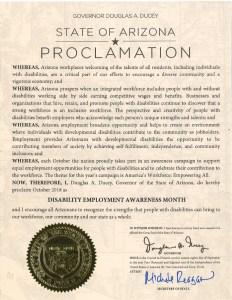 Image of Arizona proclamation for NDEAM 2018