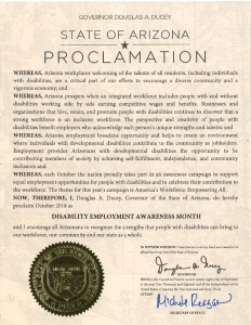 Image of Arizona proclamation for NDEAM 2018