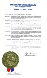 NDEAM proclamation from the state of Arkansas