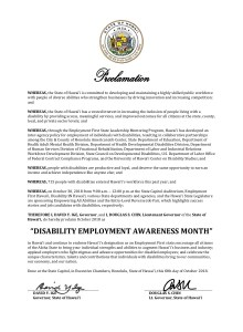 Image of Hawaii proclamation for NDEAM
