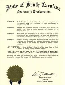 South Carolina proclamation NDEAM