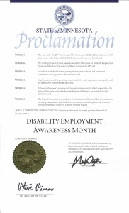 NDEAM proclamation from Minnesota