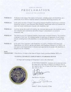 Image of Oregon's NDEAM proclamation