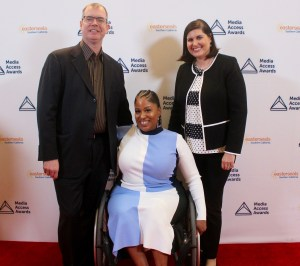 Delbert Whetter, Tatiana Lee, Lauren Appelbaum on the Red Carpet at the Media Access Awards