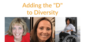 "Images of Jennifer Laszlo Mizrahi, Candace Cable and Tatiana Lee. Text: Adding the ""D"" to Diversity"