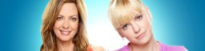 Allison Janey smiling and Anna Farris looking uncertain