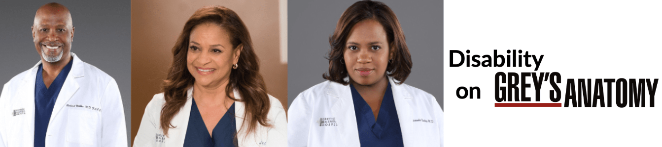 Disability on Grey's Anatomy. Photos of three African American cast members portraying people with disabilities