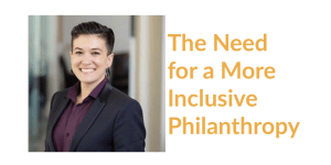 Allison Sparks headshot. Text: The Need for a More Inclusive Philanthropy