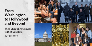Five images of people with disabilities, Ali Stroker in Oklahoma, Capitol Hill, and award statues