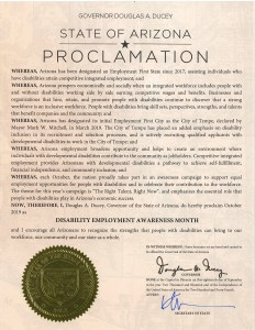 Proclamation from Arizona Governor Doug Ducey for Disability Employment Awareness month.