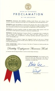 NDEAM proclamation from Tennessee Governor Bill Lee