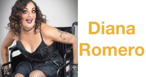 Filmmaker Diana Romero dressed in black, smiling. Romero is a wheelchair user. Text: Diana Romero