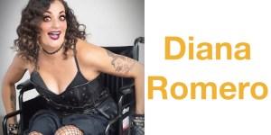 Filmmaker Diana Romero dressed in black, smiling. Romero is a wheelchair user. Text: Diana Romero