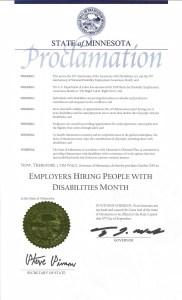 Disability Employment Awareness Month Proclamation from Minnesota