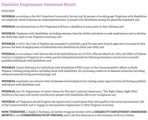 Disability Employment Awareness Month proclamation from Virginia