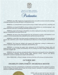 Proclamation from New Jersey Governor Murphy declaring October as Disability Employment Awareness Month