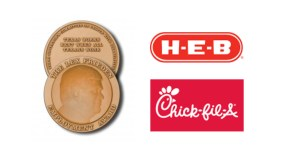 "Image of the Lex Frieden Employment Award medal, which says ""Texas Works Best When All Texans Work"". Logos for H-E-B and Chick-Fil-A"