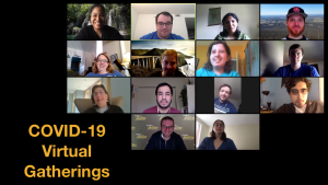 Fourteen diverse people with and without disabilities smiling in a Zoom group meeting. Text: COVID-19 Virtual Gatherings
