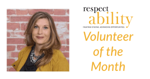 Carla Boyd smiling headshot in front of a brick wall. RespectAbility logo. Text: Volunteer of the Month