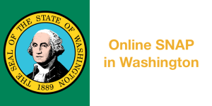 Washington state seal. Text: Online SNAP in Washington