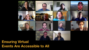 Fourteen diverse people with and without disabilities smiling in a Zoom group meeting. Text: Ensuring Virtual Events Are Accessible to All