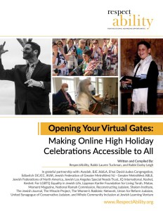 Cover of RespectAbility Opening Your Virtual Gates high holiday online toolkit, featuring four separate photos of jews with disabilities smiling and names of authors and partners