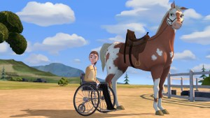 animated female character seated in a wheelchair next to a horse