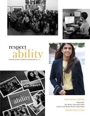 Cover page of RespectAbility 2020 annual report featuring photos of diverse people with disabilities