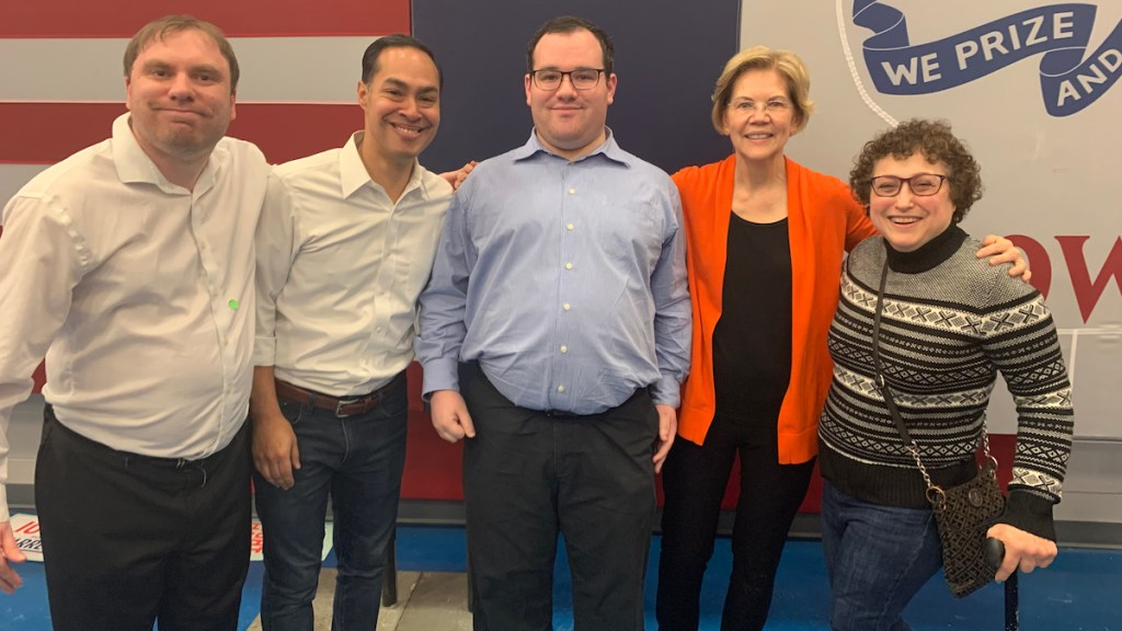 Ila Eckhoff, RespectAbility Board Nominating Committee Co-Chair, in Iowa with RespectAbility Former Fellow James Trout and Communications Associate Eric Ascher with 2020 presidential candidates Julian Castro and Elizabeth Warren