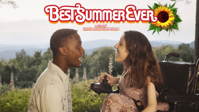 Rickey Alexander Wilson and Shannon DeVido singing in a scene from Best Summer Ever. Logo for the film.