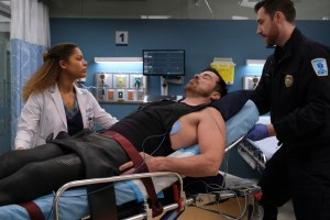 Kurt Yaeger lying in a hospital bed in a scene from The Good Doctor