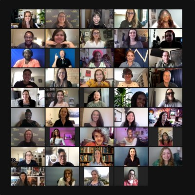 42 people with disabilities, an ASL interpreter and Cheryl Bedford in a zoom meeting together.