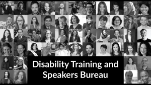 Headshots of speakers in RespectAbility's speakers bureau. Text: Disability Training and Speakers Bureau