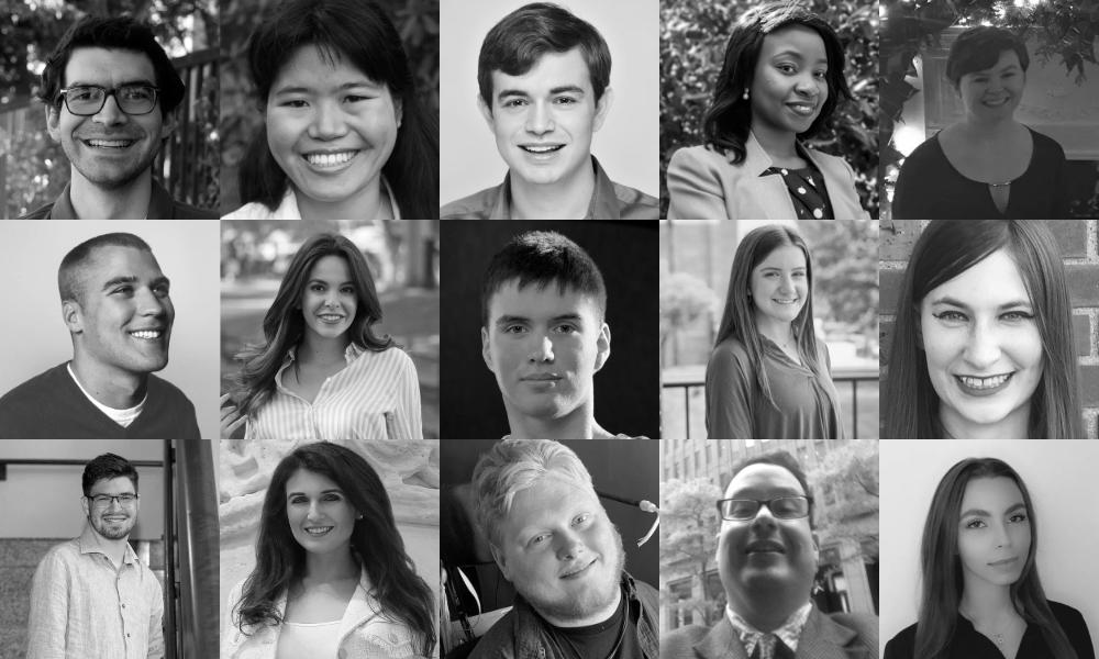 Black and white photos of 15 Spring 2021 RespectAbility Fellows