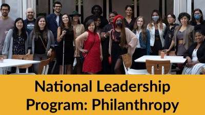 RespectAbility Lab participants and alumni together outside. Text: National Leadership Program: Philanthropy