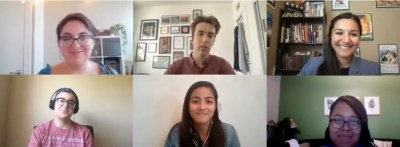 Four speakers from the NBCUniversal Page Program with 2 Lab participants on Zoom together smiling