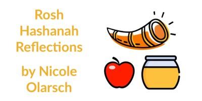 Illustration of a shofar, apple and honey jar. Text: Rosh Hashanah Reflections by Nicole Olarsch