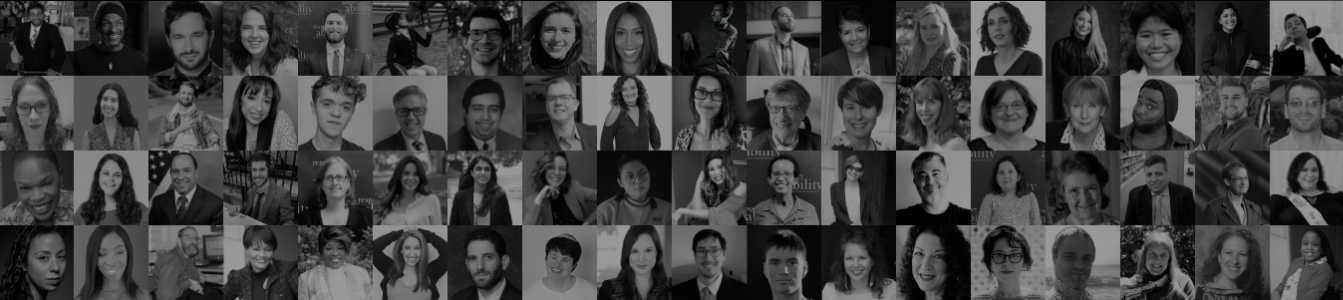 Black and white headshots of people in RespectAbility's speakers bureau and/or entertainment media consulting team