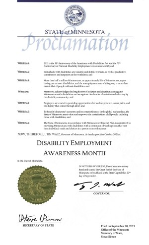Proclamation for Disability Employment Awareness Month in Minnesota