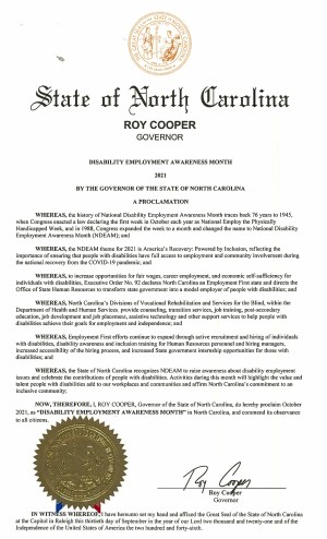 Proclamation for Disability Employment Awareness Month 2021 in North Carolina