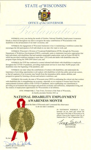 Proclamation for Disability Employment Awareness Month in Wisconsin