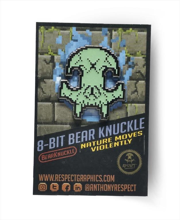 8Bit Glow In The Dark Skull Bear Knuckle Skull Logo Hard Enamel Pin By Respect