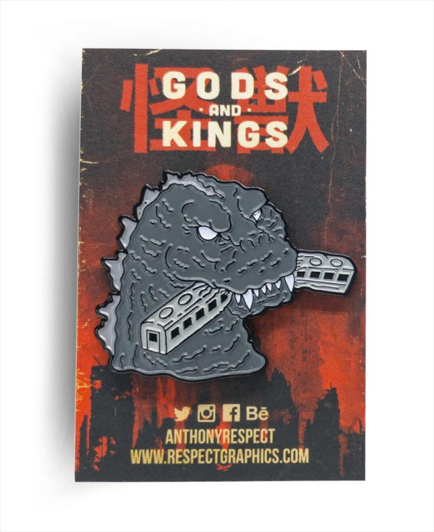 Gojira 54 Train Biter Classic Edition Black Enamel Finish Kaiju Gods and Kings Enamel Pin By Respect