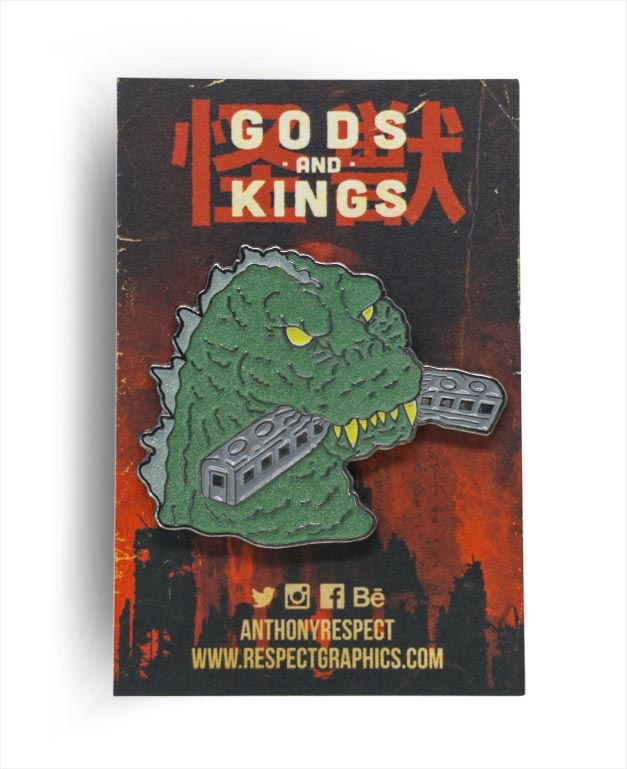 Gojira 54 Train Biter Techinicolor Edition Black Nickel Finish Kaiju Gods and Kings Enamel Pin By Respect