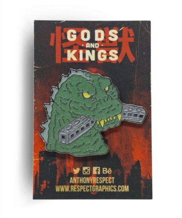 Gojira 54 Train Biter Techinicolor Edition Black Nickel Finish Kaiju Gods and Kings Enamel Pin By Respect