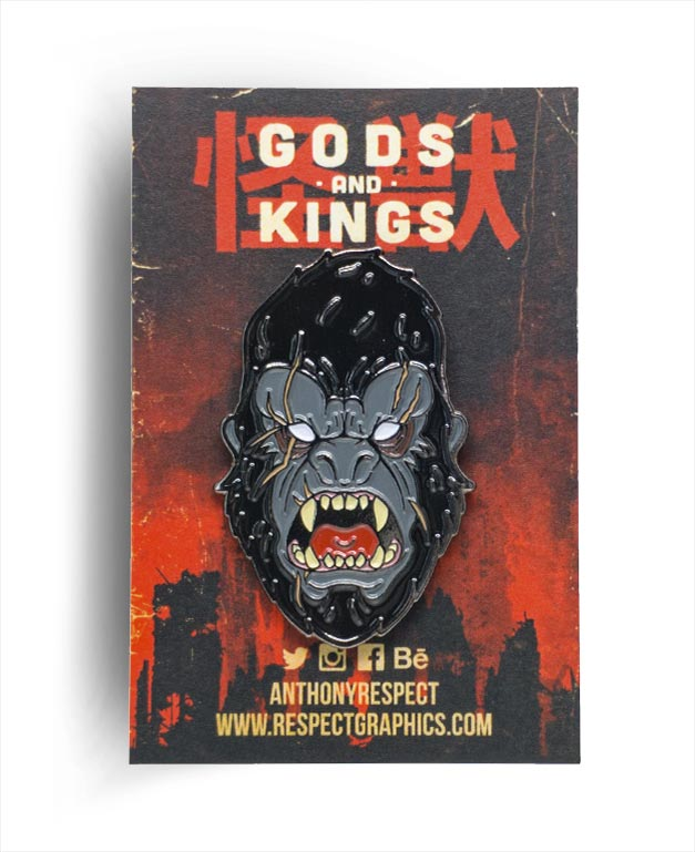 King Kong Skull Island Edition Black Nickel Finish Kaiju Gods and Kings Enamel Pin By Respect